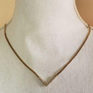 3/$12 Vtg Avon Rhinestone V Choker Necklace